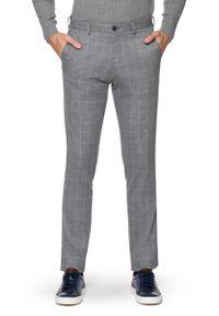 Szare spodnie Lancerto w kratkę, eleganckie, długie