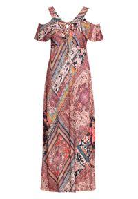 Sukienka cold-shoulder ze sznurowaniem bonprix beżowo-czerwony wzorzysty. Kolor: beżowy