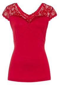 Czerwona bluzka bonprix w koronkowe wzory, elegancka