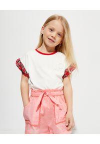 MONCLER KIDS - Biała koszulka z nadrukiem 4-10 lat. Kolor: biały. Materiał: bawełna. Wzór: nadruk. Sezon: lato
