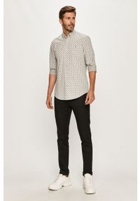 Szara koszula Calvin Klein długa, z aplikacjami, na co dzień