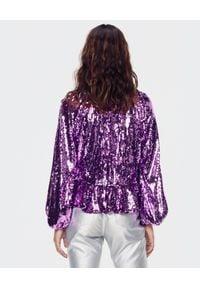 For Love & Lemons - FOR LOVE & LEMONS - Fioletowa cekinowa bluzka Madeleine. Okazja: na imprezę. Kolor: różowy, wielokolorowy, fioletowy. Materiał: jeans