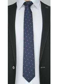 Elegancki Krawat Męski Chattier, Wzór PAISLEY -6,5cm- Chattier, Granatowy. Kolor: niebieski. Materiał: tkanina. Wzór: paisley. Styl: elegancki