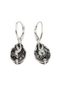 Srebrne kolczyki srebrne, z aplikacjami, z kryształem