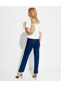 NANUSHKA - Granatowe jeansy Kemia. Okazja: na co dzień. Stan: podwyższony. Kolor: niebieski. Styl: klasyczny, elegancki, casual