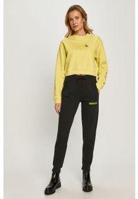 Zielona bluza Calvin Klein Jeans z długim rękawem, długa, casualowa