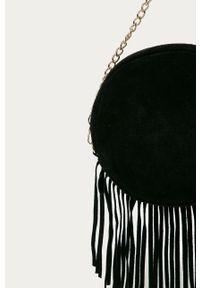 Czarna listonoszka Answear Lab z frędzlami, gładkie, na ramię, wakacyjna