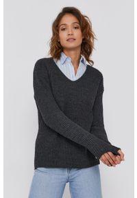 Frieda & Freddies - Sweter z domieszką wełny. Kolor: szary. Materiał: wełna. Długość rękawa: długi rękaw. Długość: długie. Wzór: ze splotem