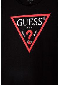 Czarna sukienka Guess Jeans z nadrukiem, dopasowana, mini
