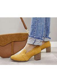 Żółte półbuty Zapato na słupku, bez zapięcia