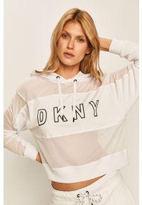 Biała bluza DKNY z aplikacjami, z kapturem