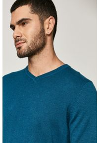 Turkusowy sweter medicine na co dzień, z długim rękawem, casualowy