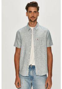 Niebieska koszula Levi's® na spotkanie biznesowe, krótka, z krótkim rękawem, klasyczna