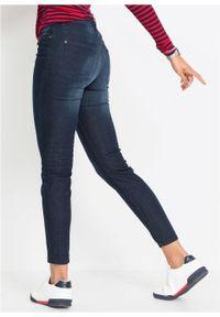 Dżinsy Super SKINNY, krótsze nogawki bonprix ciemny denim. Kolor: niebieski. Materiał: elastan, poliester, wiskoza, materiał, bawełna. Długość: krótkie