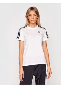 Adidas - adidas T-Shirt 3 Stripes Tee GN2913 Biały Regular Fit. Kolor: biały