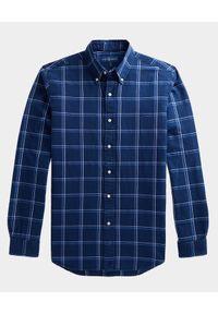Ralph Lauren - RALPH LAUREN - Niebieska koszula w kratę Slim Fit. Typ kołnierza: polo. Kolor: niebieski. Materiał: bawełna. Długość rękawa: długi rękaw. Długość: długie. Wzór: haft