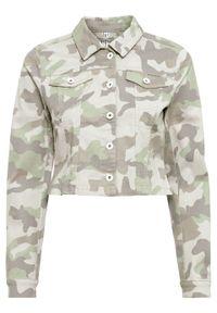 Krótsza kurtka w deseń moro bonprix szarozielony - srebrnoszary - szary stalowy z nadrukiem. Kolor: zielony. Długość: krótkie. Wzór: nadruk, moro