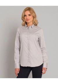 SOLUZIONE - Klasyczna koszula z ukrytymi guzikami. Okazja: na co dzień. Kolor: szary. Materiał: materiał. Długość rękawa: długi rękaw. Długość: długie. Wzór: aplikacja. Styl: klasyczny