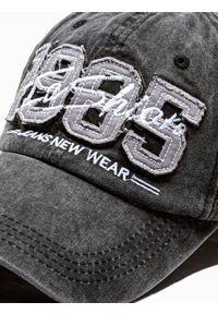 Ombre Clothing - Czapka męska z daszkiem H077 - czarna - uniwersalny. Kolor: czarny. Materiał: bawełna