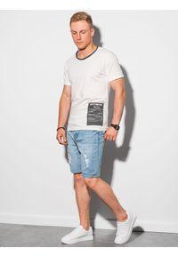Ombre Clothing - T-shirt męski bawełniany S1383 - biały - XXL. Kolor: biały. Materiał: bawełna. Wzór: aplikacja. Styl: klasyczny