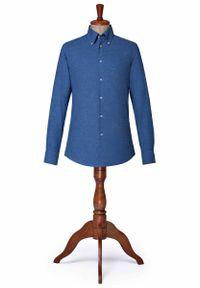 Niebieska koszula Lancerto w kolorowe wzory, vintage, na zimę