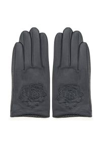 Wittchen - Damskie rękawiczki skórzane z wytłoczoną różą. Kolor: niebieski. Materiał: skóra. Wzór: aplikacja. Styl: klasyczny, elegancki