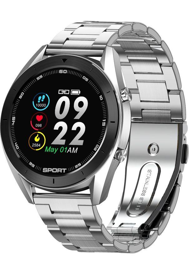 Srebrny zegarek NoName smartwatch