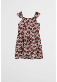 Brązowa sukienka Mango Kids mini, rozkloszowana, na ramiączkach