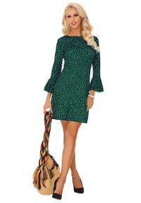 Merribel - Ciemno Zielona Prosta Sukienka w Kropki z Falbanką przy Rękawach. Kolor: zielony. Materiał: bawełna, poliester. Wzór: kropki. Typ sukienki: proste