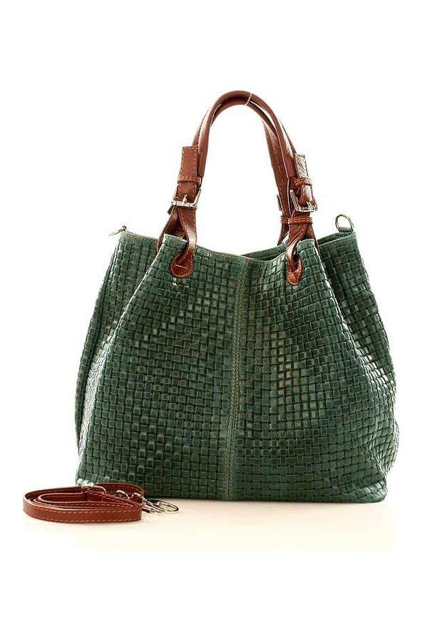 GENUINE LEATHER - Ciemnozielona Włoska Torebka Typu Shopper - Carina Treccia. Kolor: zielony