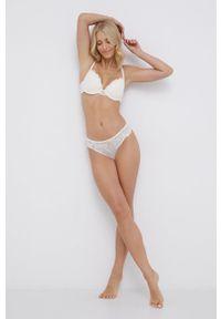 Emporio Armani Underwear - Biustonosz. Kolor: beżowy. Materiał: koronka, materiał. Rodzaj stanika: odpinane ramiączka, wyciągane miseczki