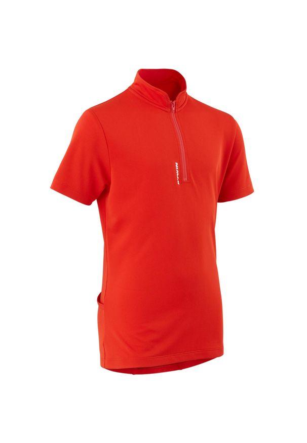 BTWIN - Koszulka krótki rękaw na rower 100 dla dzieci. Kolor: czerwony. Materiał: poliester, materiał. Długość rękawa: krótki rękaw. Długość: krótkie. Sport: kolarstwo