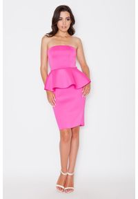 Różowa sukienka wizytowa Katrus baskinka, wizytowa
