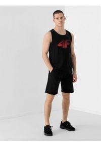 4f - Spodenki dresowe męskie. Okazja: na co dzień. Kolor: czarny. Materiał: dresówka. Styl: casual