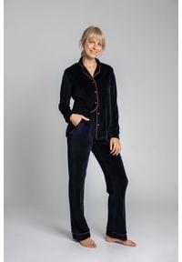 MOE - Welurowe Spodnie od Piżamy z Kontrastowymi Lamówkami - Granatowe. Kolor: niebieski. Materiał: welur
