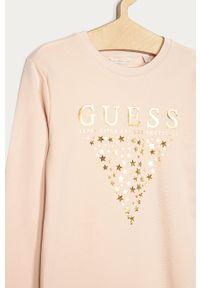 Różowa sukienka Guess na co dzień, z długim rękawem, prosta, mini