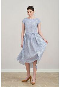 Marie Zélie - Sukienka Antea Vacanza błękitna. Kolor: niebieski. Materiał: wiskoza, materiał. Długość rękawa: krótki rękaw. Typ sukienki: asymetryczne