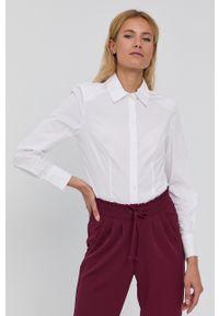 only - Only - Koszula w fasonie body. Kolor: biały. Materiał: tkanina, dzianina. Długość rękawa: długi rękaw. Długość: długie. Wzór: gładki