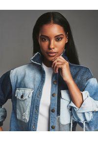 RETROFETE - Patchworkowa koszula jeansowa. Kolor: niebieski. Materiał: jeans. Długość rękawa: długi rękaw. Długość: długie #4