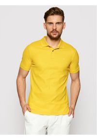 Calvin Klein Polo Refined Pique Logo K10K102758 Żółty Slim Fit. Typ kołnierza: polo. Kolor: żółty