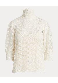 Ralph Lauren - RALPH LAUREN - Kremowa szydełkowa bluzka. Okazja: na co dzień. Typ kołnierza: polo. Kolor: biały. Styl: casual