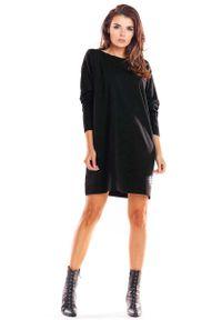 Infinite You - Czarna Trapezowa Sukienka Wizytowa. Kolor: czarny. Materiał: bawełna. Typ sukienki: trapezowe. Styl: wizytowy