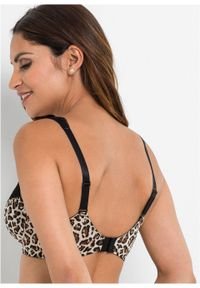 Biustonosz na fiszbinach (2 szt.) bonprix czarny w cętki leoparda + ciemnoczerwony. Kolor: czarny. Materiał: koronka. Wzór: aplikacja
