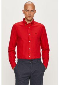 Czerwona koszula TOMMY HILFIGER długa, na co dzień