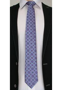 Męski Krawat z Fioletowymi Akcentami , wzór PAISLEY- Chattier, Kolorowy. Kolor: niebieski. Materiał: tkanina. Wzór: paisley. Styl: wizytowy, elegancki
