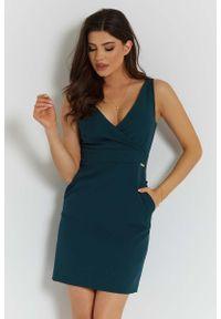Zielona sukienka wizytowa IVON elegancka, na ramiączkach