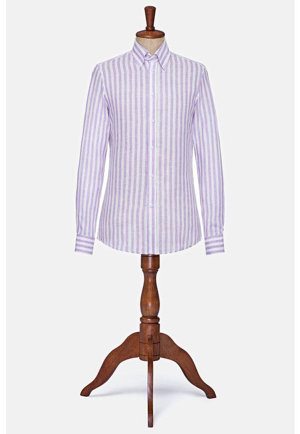 Lancerto - Koszula Wrzosowa w Prążek Lniana Kansas. Typ kołnierza: button down. Kolor: fioletowy. Materiał: len. Wzór: prążki. Styl: klasyczny, vintage