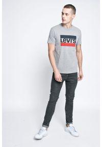 Szary t-shirt Levi's® biznesowy, z nadrukiem, na co dzień