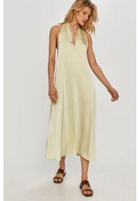 Samsoe & Samsoe - Samsoe Samsoe - Sukienka. Kolor: zielony. Materiał: tkanina, poliester. Wzór: gładki. Typ sukienki: rozkloszowane #6