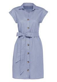 Sukienka lniana bonprix niebieski gołębi. Kolor: niebieski. Materiał: len